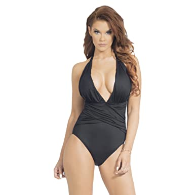 ccd664bcfe002 HOT FROM HOLLYWOOD Women s Plunging V Neck Halter Backless Slimming Black  Sexy One Piece Swimsuit