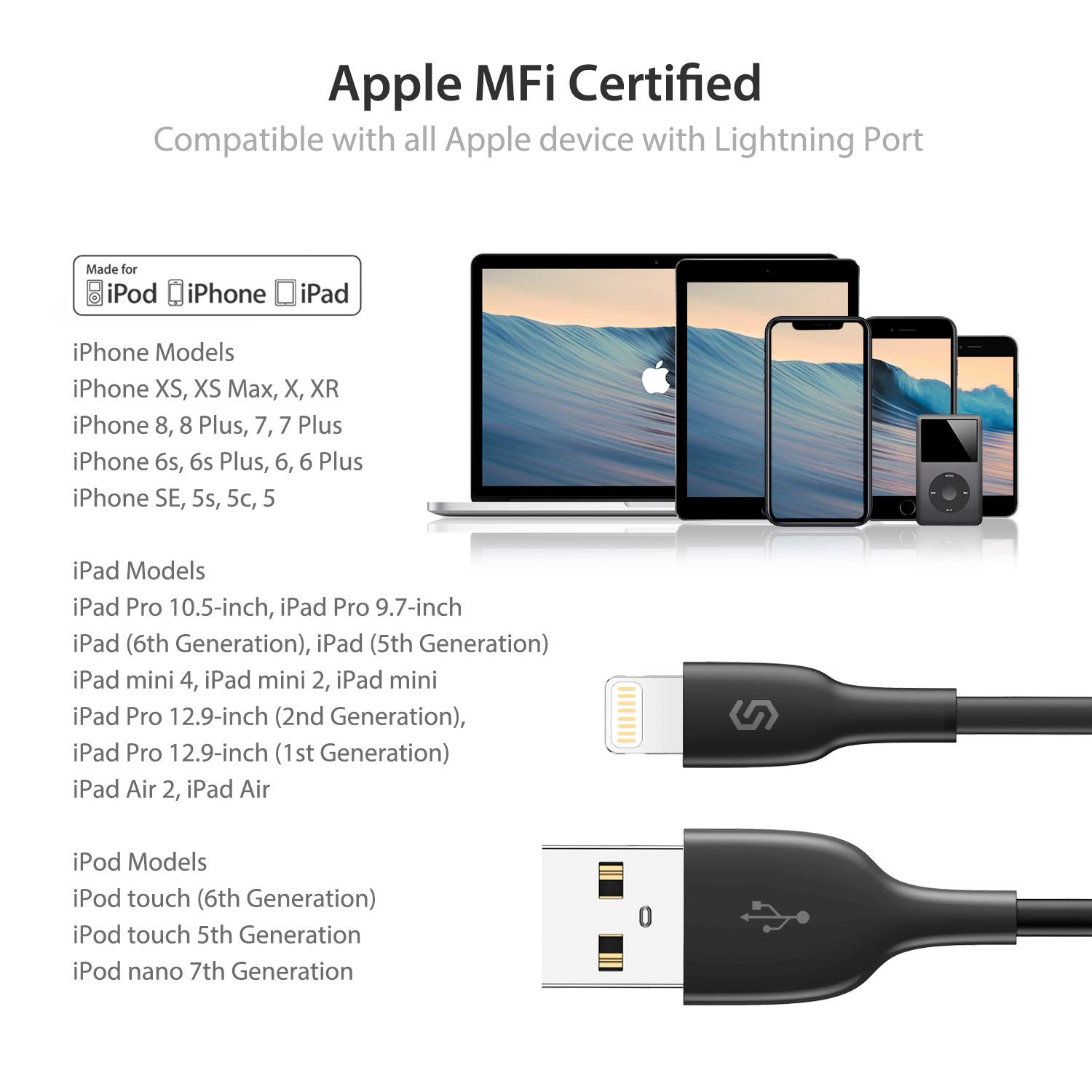 3.3ft//1m Apple Fast Charging Cable USB Lead for iPhone XS Max XR X 8 8 Plus 7 7 Plus 6s 6s Plus 6 6 Plus SE 5s 5c 5 iPad iPod White Syncwire Lightning iPhone Charger Cable Apple MFi Certified