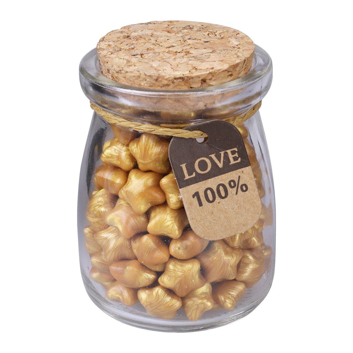 ULTNICE Perle di cera sigillate a forma di stella vintage 160 pezzi / bottiglia per sigillo di francobolli (d'oro)