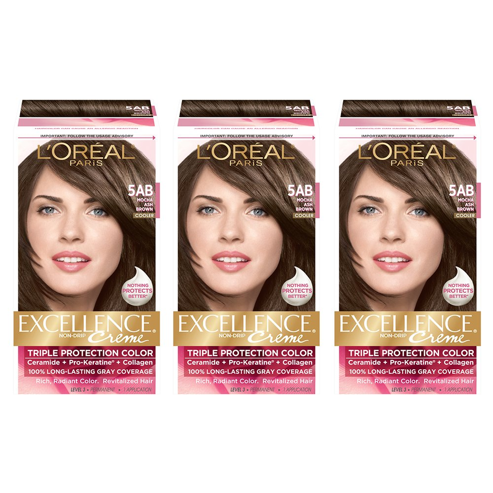 L'Oreal Paris Excellence Creme Permanent Hair Color, 5AB Mocha Ash Brown (Pack of 3) by L'Oreal Paris