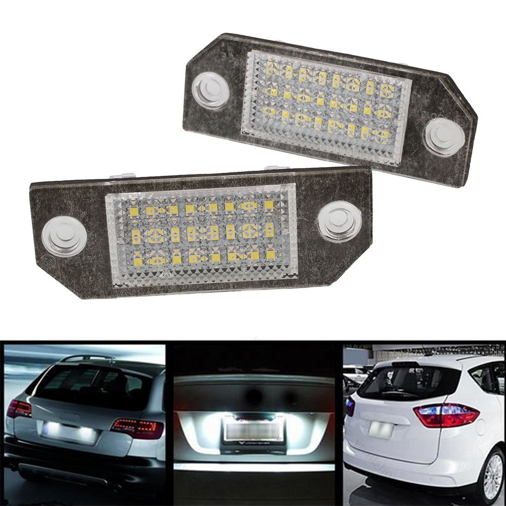 Sedeta® 2Pcs White 24 LED Car Number License Plate Light Lamp for Ford Focus C-MAX MK2 Interior accessories