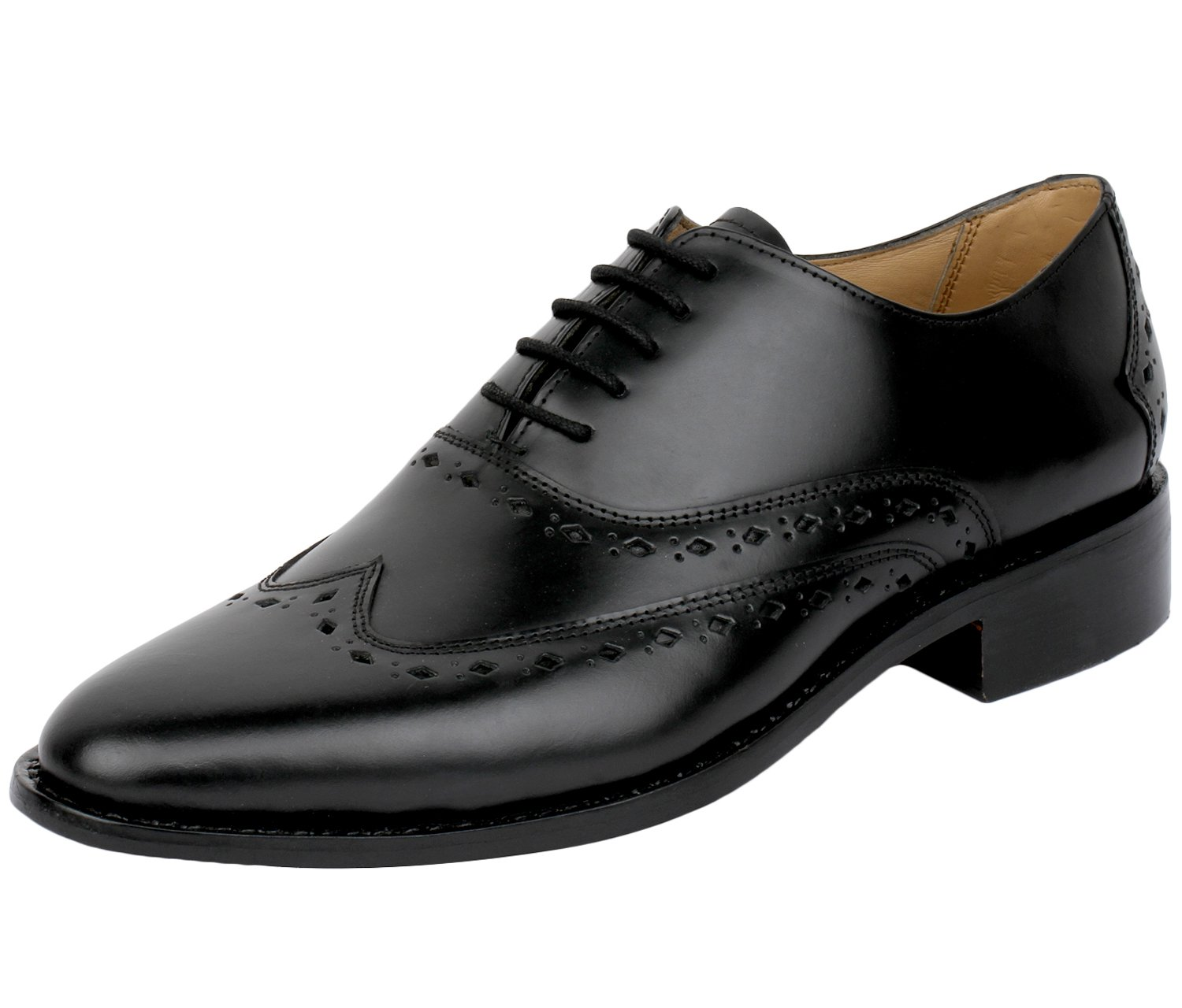Lethato Wingtip Oxford Goodyear Welted Formal Handmade Leather Dress Shoes- Black