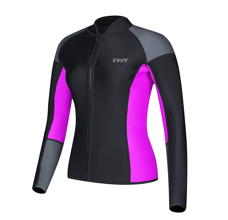 EYCE DIVE & SAIL Women's 1.5 mm Wetsuits Jacket Long Sleeve Neoprene Wetsuit Top (Grey/Purple, S = US 2)