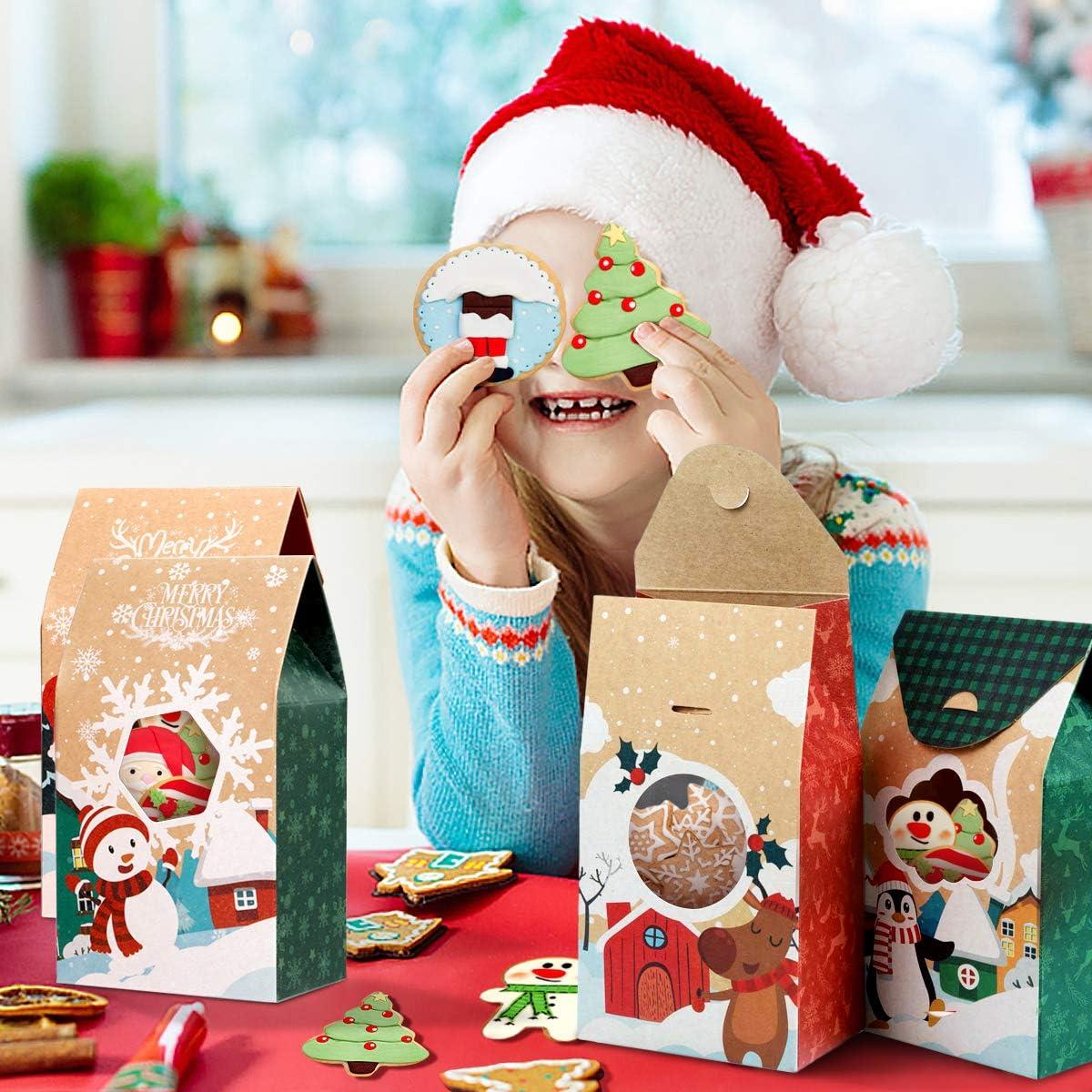 Hemoton Scatole di Biscotti Natalizi da 16 Pezzi Scatole di Caramelle per Ciambelle di Carta Kraft Scatole di Dolcetti Natalizi con Finestra Trasparente Contenitore per Alimenti da Forno