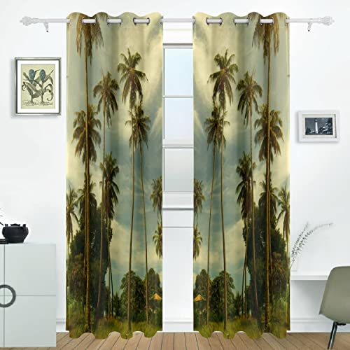 JSTEL Thermal Insulated Curtains Palm Tree Blackout Curtains Window Treatment