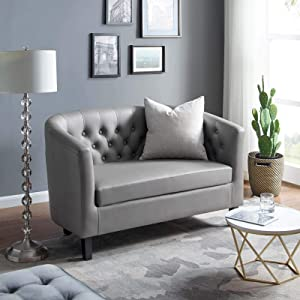 Modway Prospect Upholstered Contemporary Modern Loveseat In Gray Faux Leather