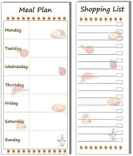 Plan de comidas y compras magnético Stick on nevera lista Bundle ...