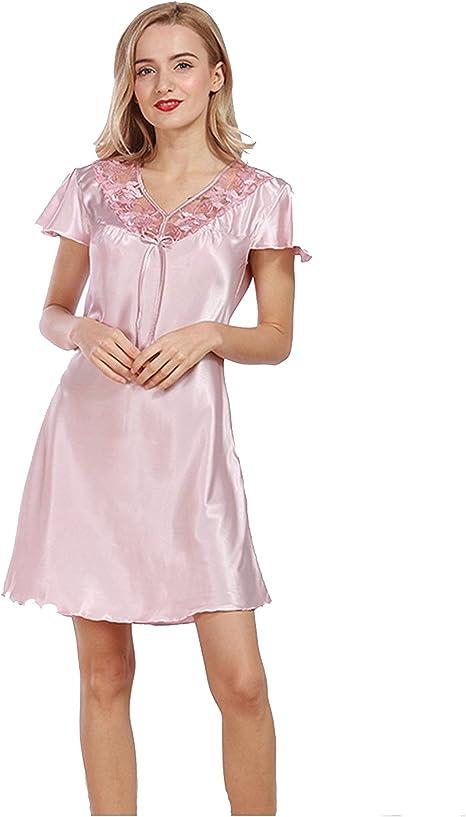 Pakamo Camisa de Dormir de Verano con Cuello en V para Mujer ...