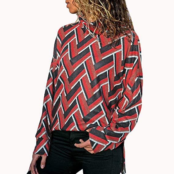 ASHOP Ropa Mujer, Sudaderas Mujer Blusas otoño Otoño Invierno Tunica Tops (Rojo,XL