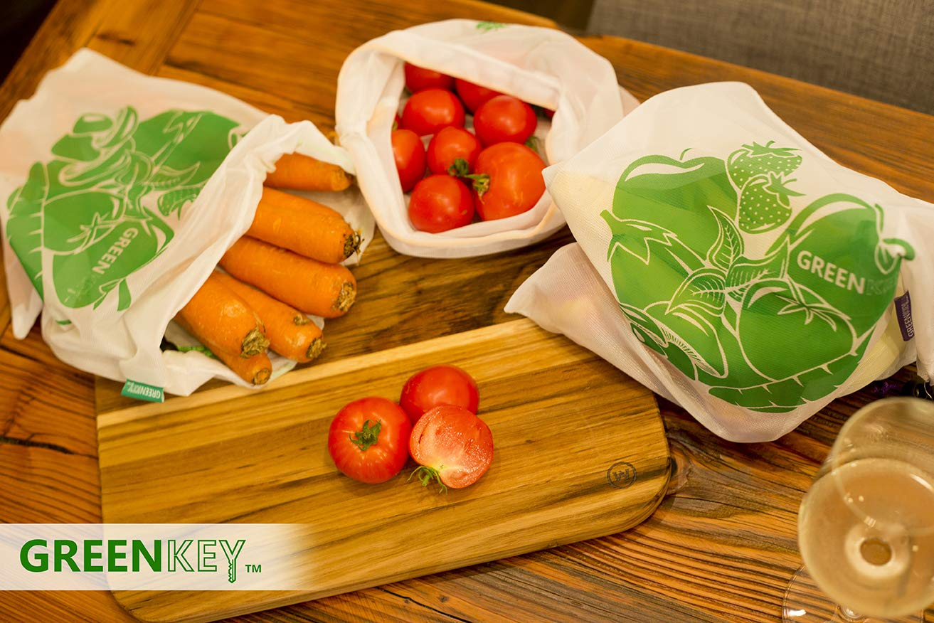 Eco Friendly Reusable Grocery Fruit and Vegetables Snacks /& Produce Bags Set of 9