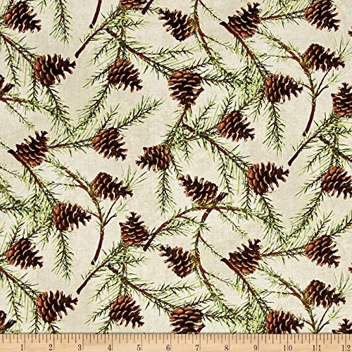 Christmas in the Wildwood Pinecones Tan Fabric By The (Pinecone Christmas Crafts)