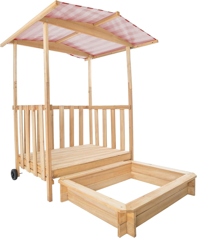 TecTake Arenero con Techo para niños Veranda Madera Protección contra el Sol (Rojo | No. 401804): Amazon.es: Juguetes y juegos
