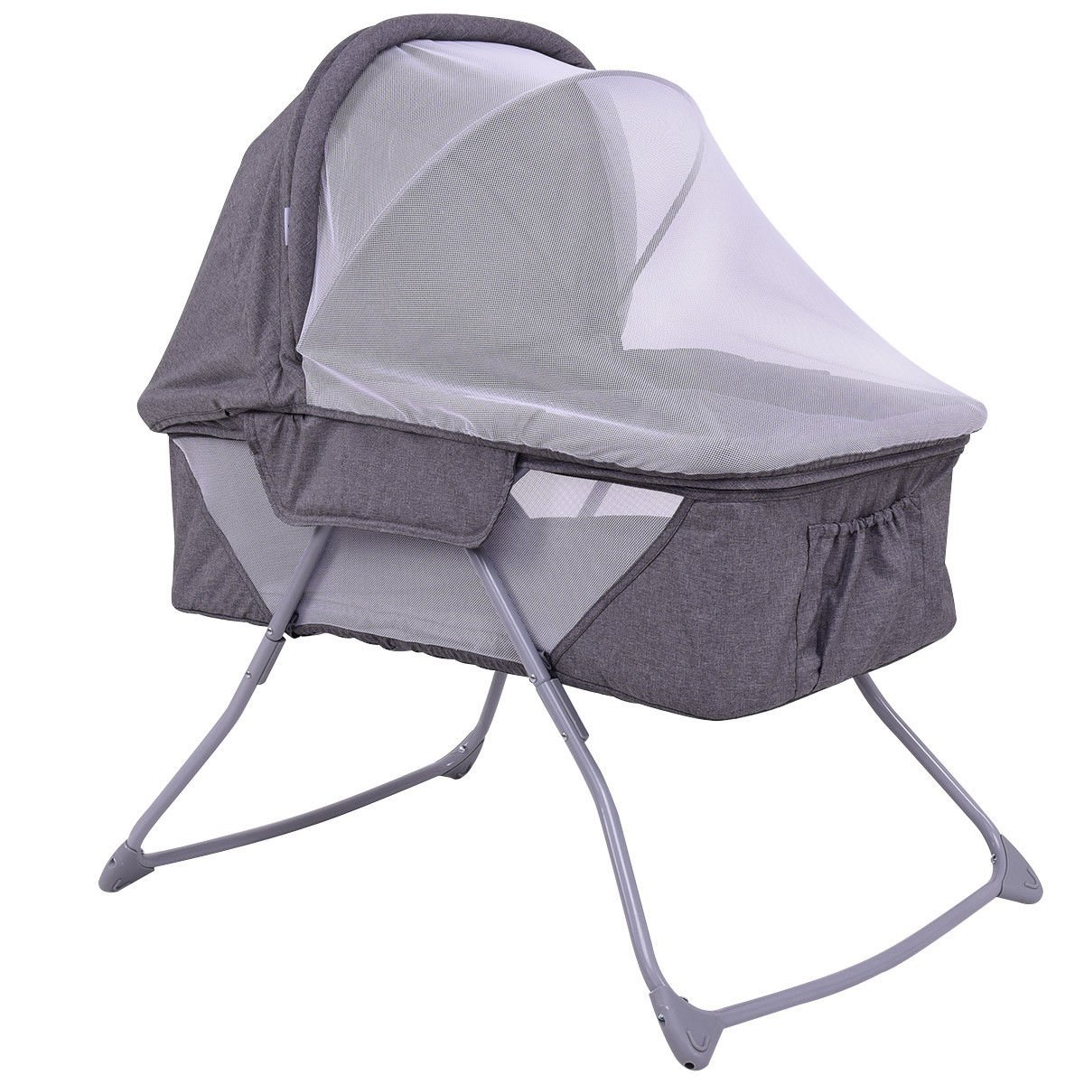 Costzon Baby Bassinet, Foldable Rocking Bed with Mosquito Net & Carrying Bag (Gray)