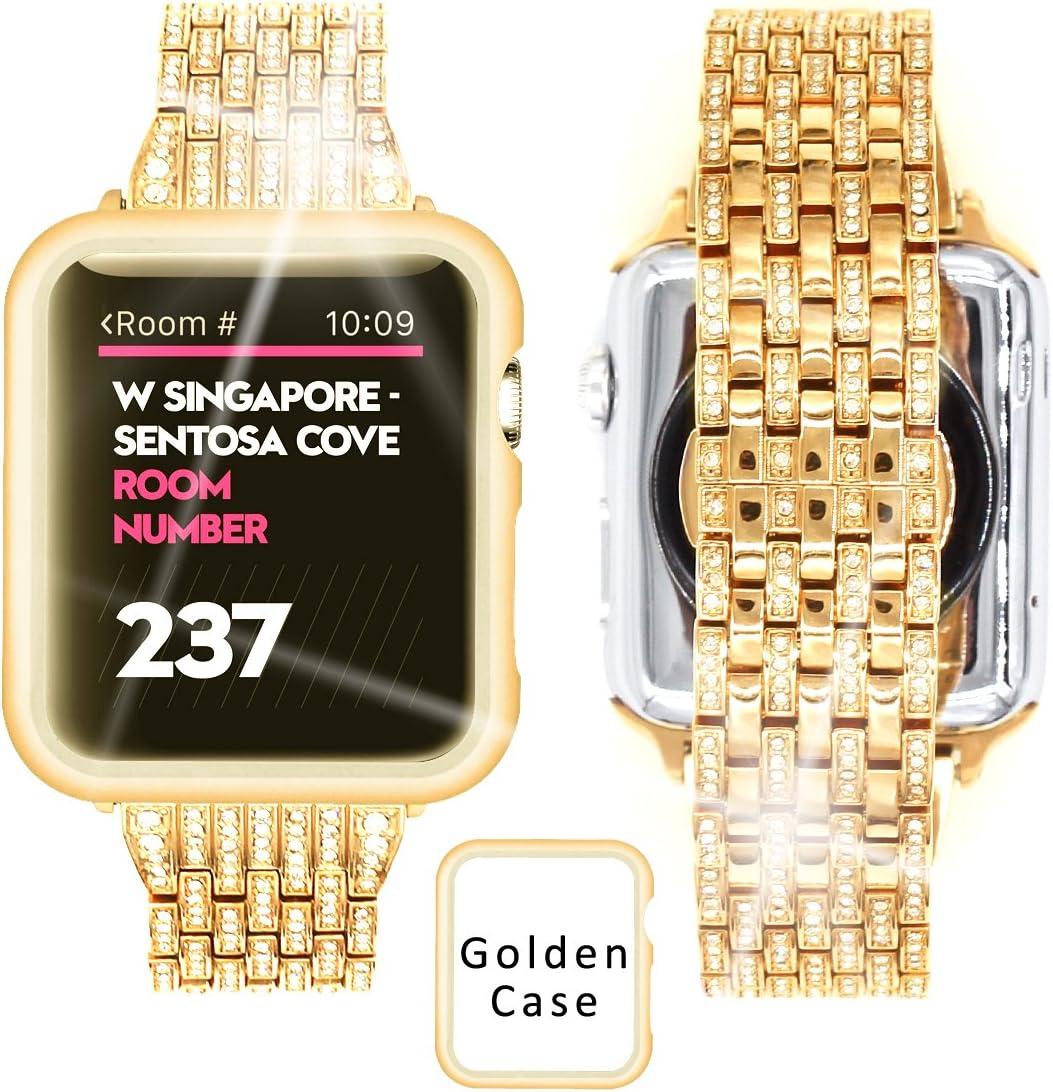 Ezzdo Apple Watch Diamond Band 40mm Series 5/4, Rhinestone Luxury Diamond Stainless Steel Replacement Bands with Case for Apple Watch 40mm 38mm Series 1/2/3(Gold, 40mm)