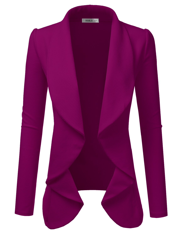 Doublju Classic Draped Open Front Blazer for Women with Plus Size Magenta Medium