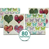 Origami Luxuria 3 Ply Cocktail Party Napkins - 22 X 22 cm - Multi Color Printed Designs - Pack of 80 Napkins