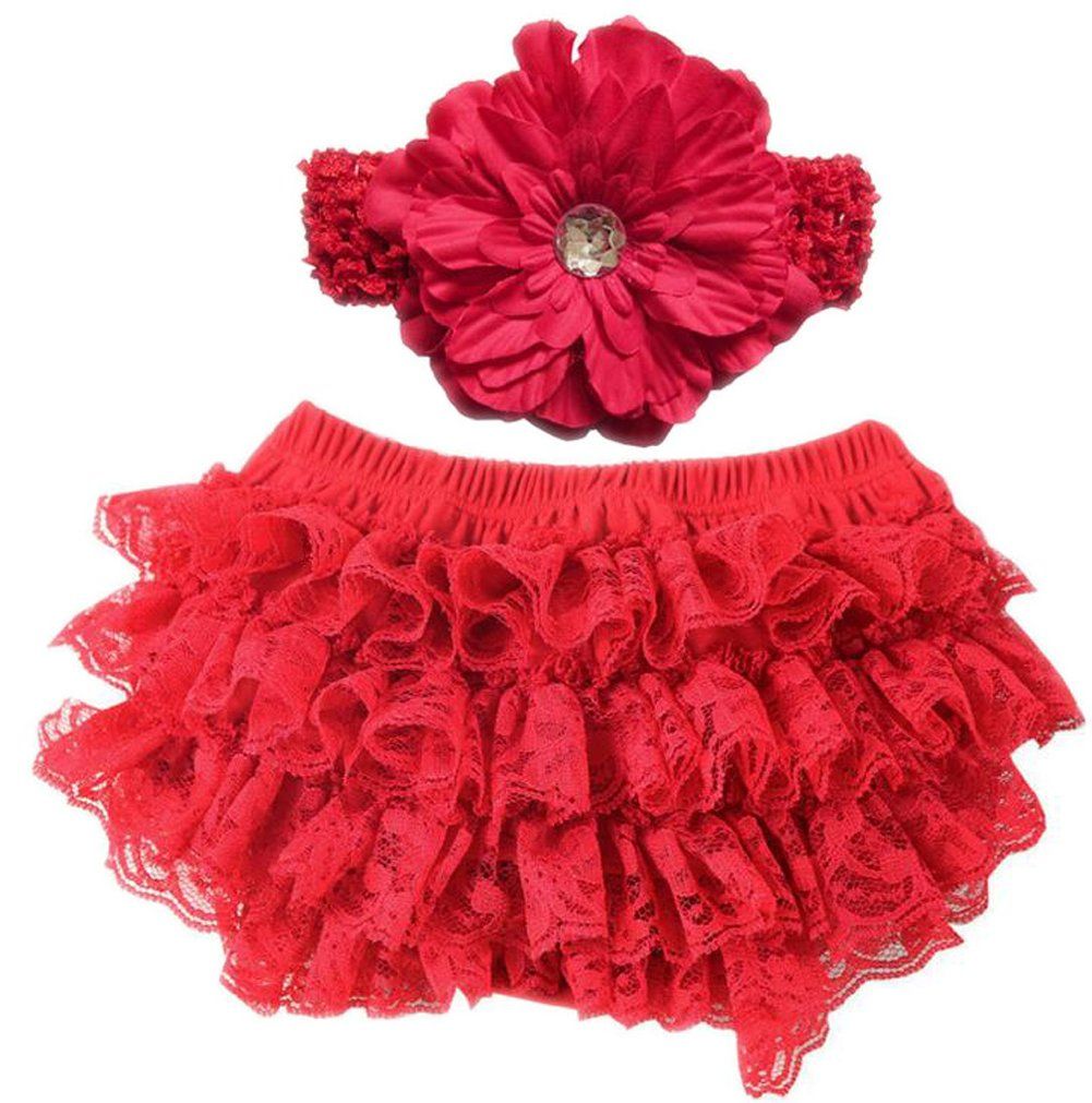 Infant and Toddler Diaper Covers Lace Ruffle Baby Bloomers and Infant Headband Set October Elf