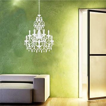Vinyl Vinatage Antique Ornate Crystal Chandelier Wall Decal Sticker  Decorative Candelabra Design (White, 24x16