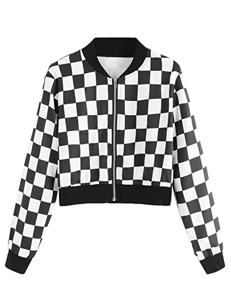 e5e59d8de SheIn Women's Casual Checkered Long Sleeve Zip up Top Cropped Bomber Jacket