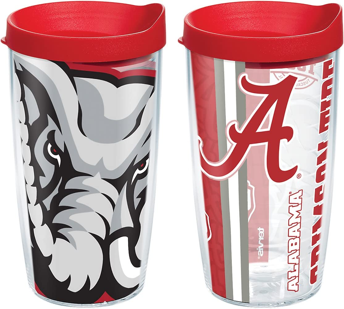 Boxed 16oz Clear Tervis 1239891 Alabama Crimson Tide College Pride and Mascot Colossal Insulated Tumbler with Wrap and Red Lid 2 Pack