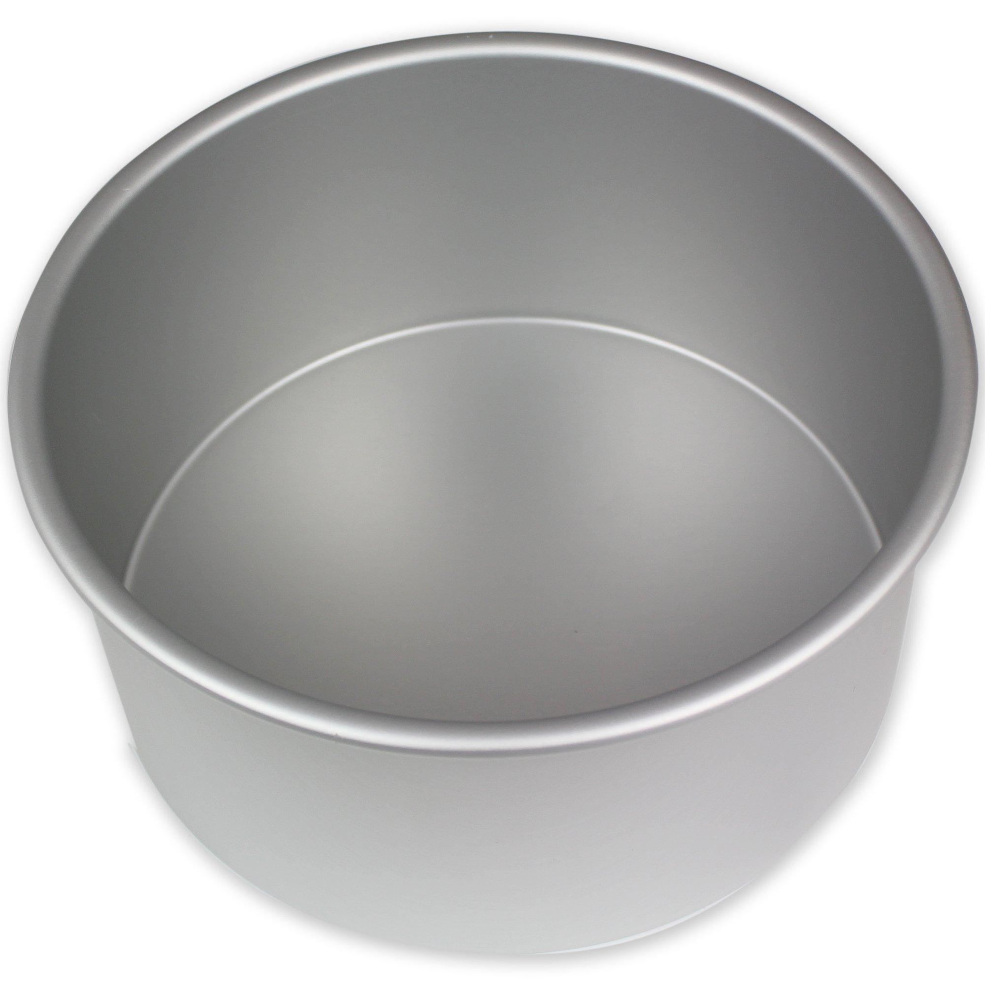 PME RND084 Round Seamless Professional Aluminum Baking Pan, 8'' x 4'', Silver