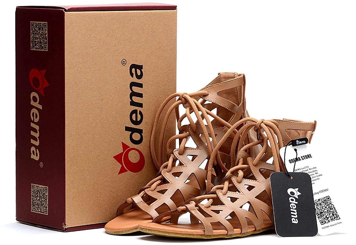 Odema Women's Cutout Lace-Up Open Toe Ankle Strappy Gladiator Flat Sandals