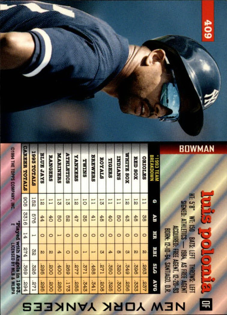 1994 Bowman #409 Luis Polonia at Amazons Sports ...