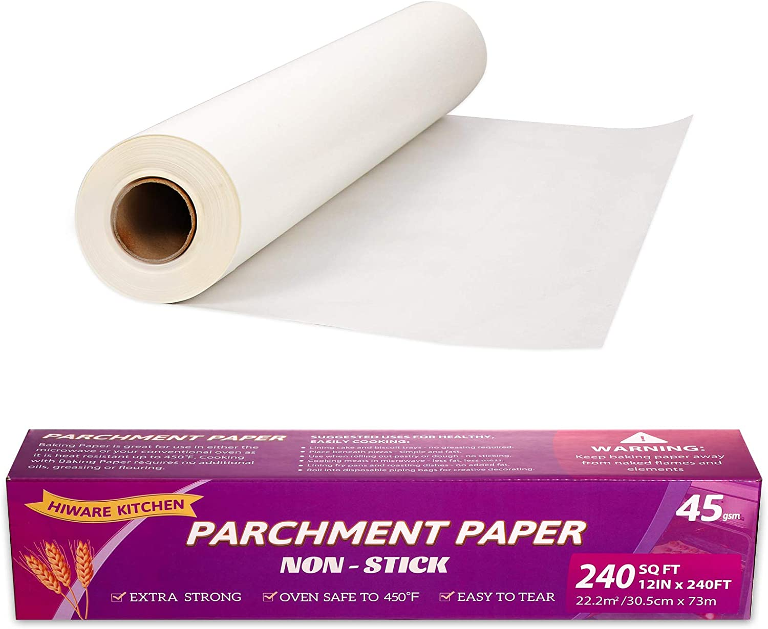 Hiware Parchment Paper Roll for Baking, 12 in x 240 ft, 240 Sq.ft - Non-Stick Parchment Paper For Baking, Cooking, Grilling, Air Fryer and Steaming