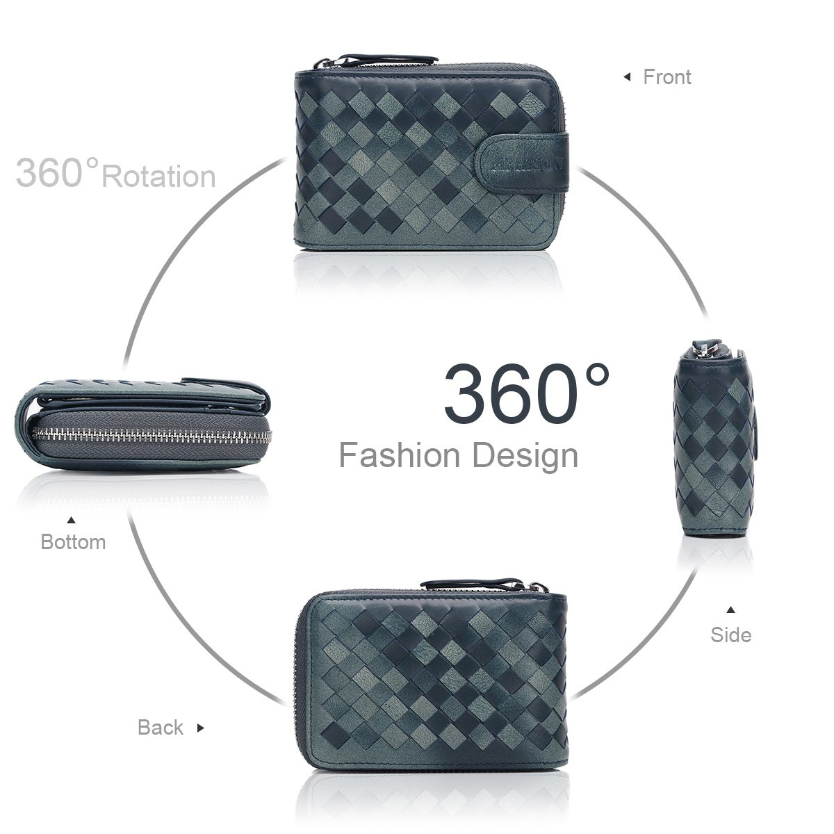 APHISON Women Men Soft Leather Credit Card Holder Card Wallet Ladies Weave Design Small Purse//Gift Box