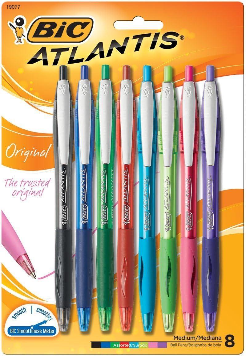 BIC Atlantis Ball Pen Medium Black 8 Pack Brand New In Package