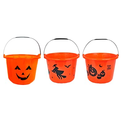 """Family Holiday Halloween Trick-or-Treat Candy Pail Buckets 7"""" (Pack of 3): Toys & Games"""