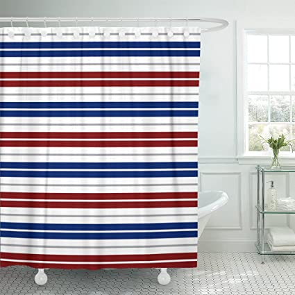 Amazoncom Emvency Shower Curtain Navy Nautical Red Blue White Gray