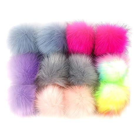 12pcs Colori Assortiti 10 Centimetri Fluffy Faux Pelliccia Di Volpe Pompom  Ball Con Elastico Cordone Per 657a2ee597f7