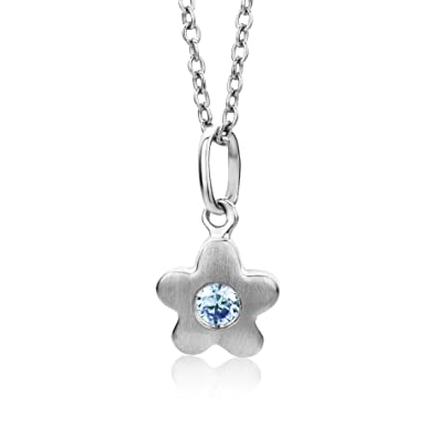 Miore Children's 925 Sterling Silver Flower Blue Zirconia Pendant on 36 + 4cm extendable Chain MSM104PK VnJNZz2bS6