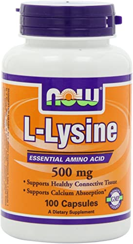 NOW L-Lysine 500mg, 100 Capsules Pack of 3