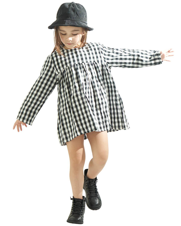 Little Girls High Waist Plaid Dress Black White Long Sleeve Spring Fall Playwear Size 110 (4T) Black Plaid by DeerBird (Image #1)