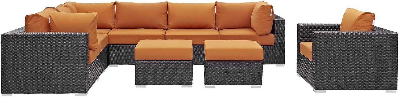 Modway Convene Wicker Rattan 9-Piece Outdoor Patio Sectional Sofa Furniture Set in Espresso Orange