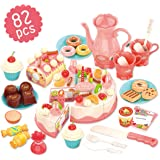 REMOKING Pretend Play Food for Kids,DIY 82PCS Decorating and Cutting Birthday Party Cake, Tea Set,Candle,Fruits,Biscuits,Desserts,Educational Kitchen Toy with Lights&Sounds for Children,Girls&Boys,Aged 3+