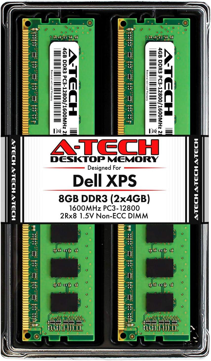 A-Tech 8GB RAM Kit for Dell XPS 8700, 8500 - (2 x 4GB) DDR3 1600MHz PC3-12800 Non-ECC DIMM Memory Upgrade Modules