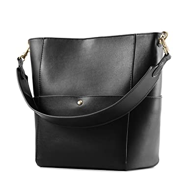 4287e381de Kattee Women s Cowhide Leather Tote Shoulder Bag Hobo Handbag Shoulder  Bucket Bag (Black)