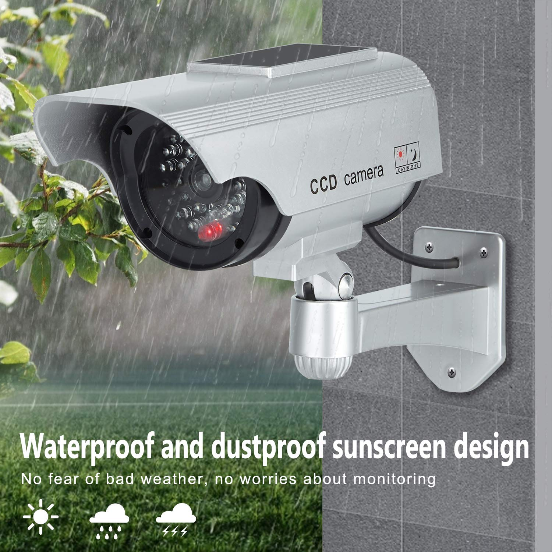 TOROTON C/ámara Falsa Dummy C/ámara con Energ/ía Solar de Seguridad LED Parpadeante Sistema de Vigilancia C/ámara Simulada CCTV