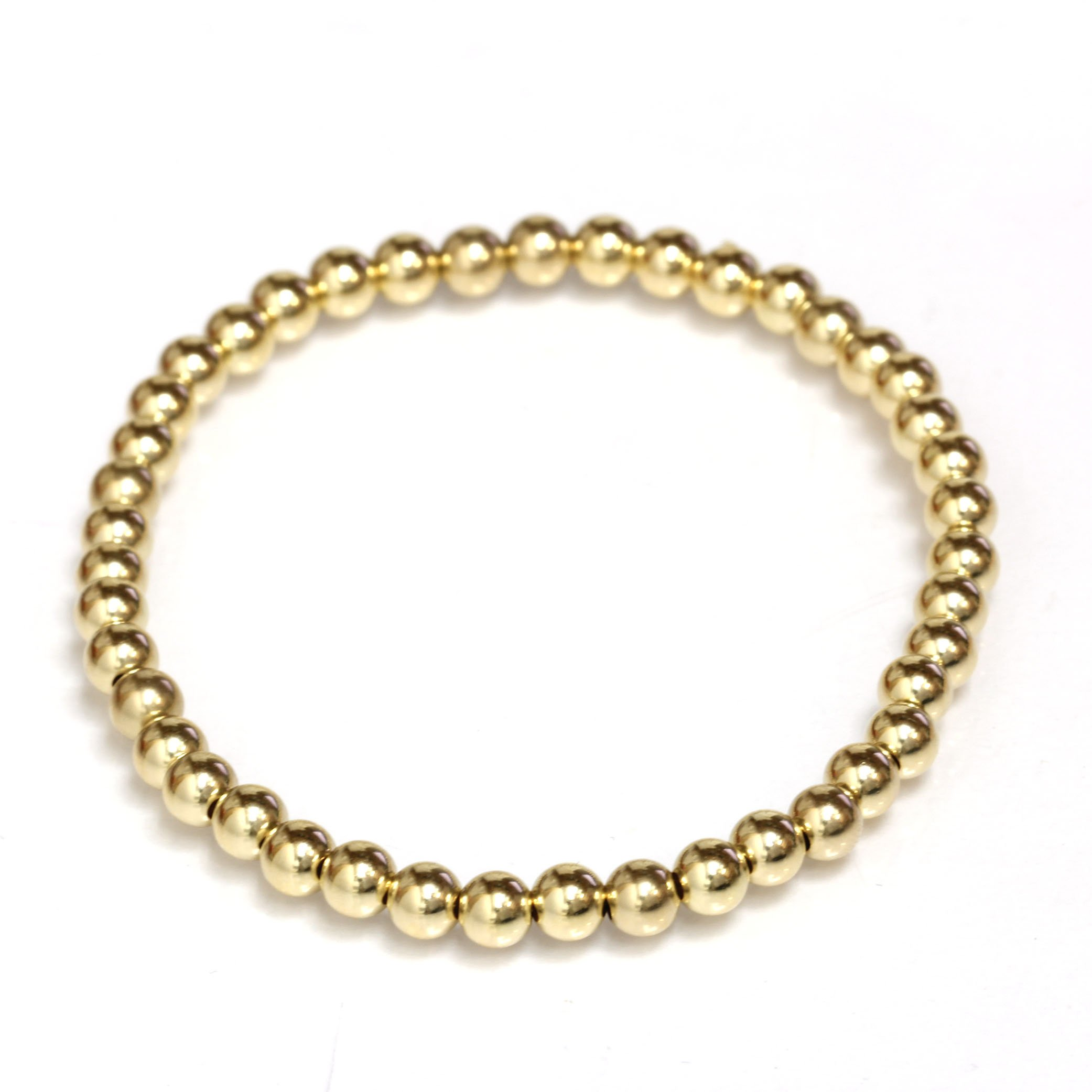 Beaded Stretch Bracelet 14k Solid Gold Yellow, White and Rose (yellow-gold)