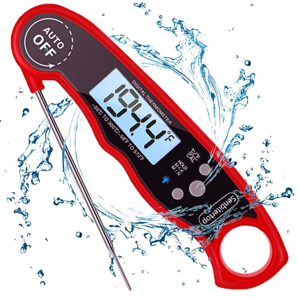 Senbitertop Meat Thermometer,Waterproof Instant Read Kitchen Thermometer,Cooking Thermometer with Back Lit Display,Fordable Long Probe for Food, Candy, Milk, Tea, BBQ Grill Smokers