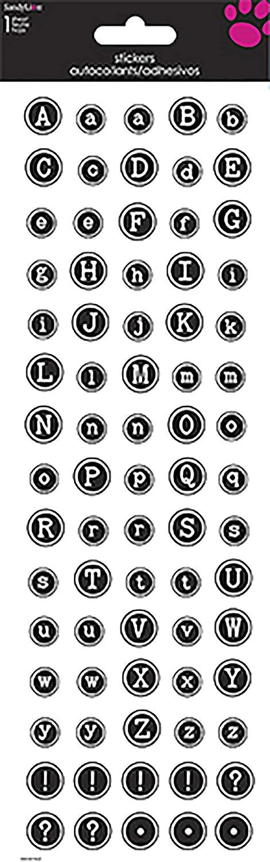 Sandylion Alphabet Typewriter Tall Sticker, 4 by 12-Inch, Black by Sandylion