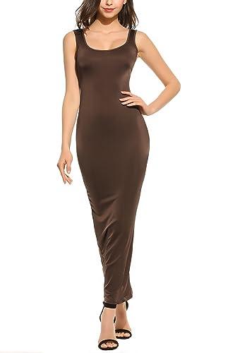 Zeagoo Women Sexy Sleeveless Slim Fit Solid Bodycon Tank Maxi Dress