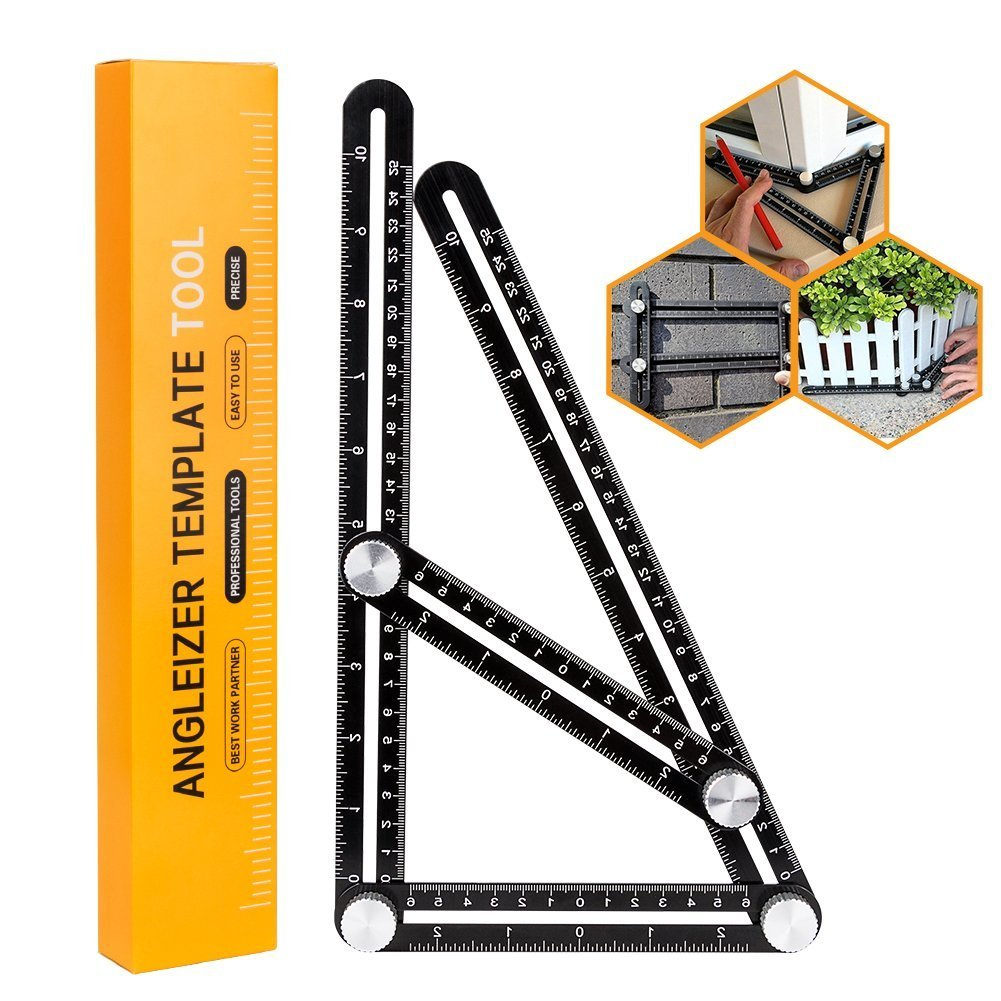 Winzwon Template Tool Angle Measuring ruler Adjustable Upgraded Full Metal Multi-Angle Measuring Tool for Craftsman, Builder, Carpenter, Architect, Engineer or DIY Lover