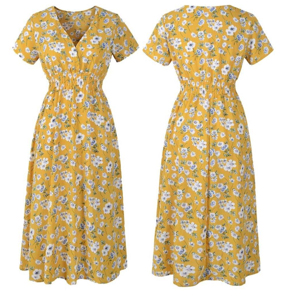 Women Chffon Dress Floral,Vanvler Ladies Summer Holiday Beach Print V NeckDress