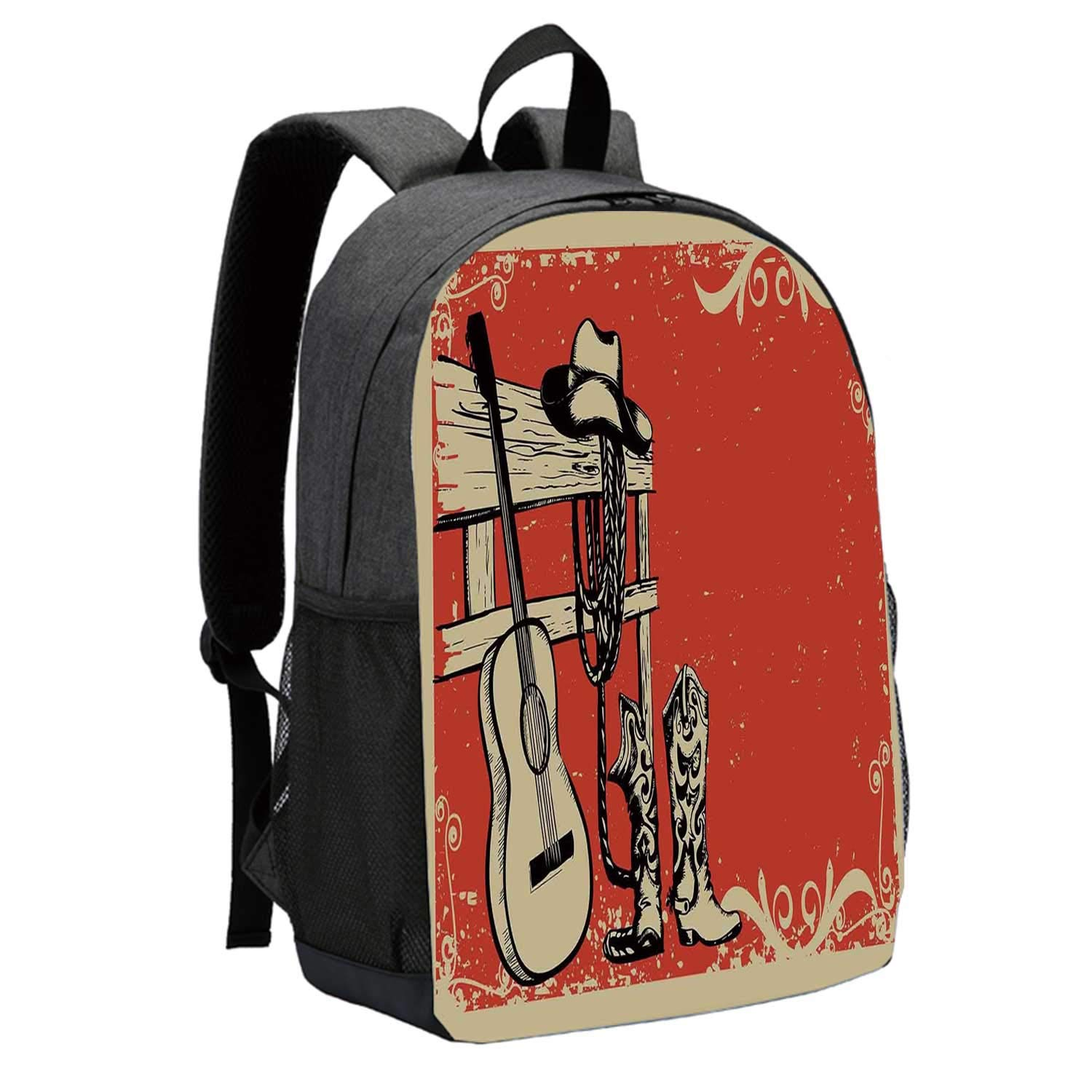 Western Durable Backpack,Image of Wild West Elements with Country Music Guitar and Cowboy Boots Retro Art Decorative for School Travel,12''L x 5''W x 17''H by ALUONI