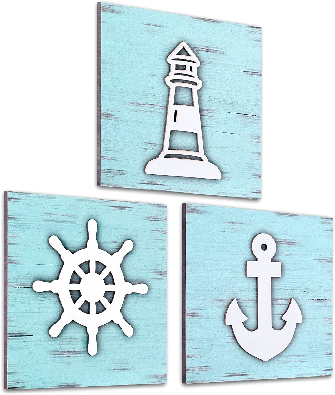 3 Pieces Nautical Wall Decor Wooden Nautical Style Sign Rustic Beach Decor with 3D Anchor, Lighthouse and Ship Wheel Wooden Beach Bathroom Decor Ocean Coastal Theme Decorations for Home