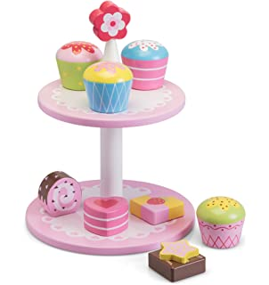 Bigjigs Toys Wooden Cake Stand With 9 Wooden Cakes Pretend Role